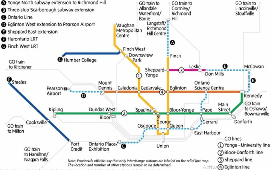 حكومة اونتاريو تكشف عن خطة للنقل بقيمة 28 مليار دولار تتضمن إنشاء خط مترو جديد